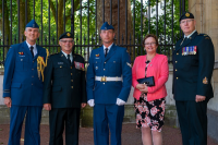 From left to right: Capt Jacques Landry, BGen Steve Irwin (Ret'd), Cpl Charles Johnston, Mrs. Deanna Irwin and CWO Glenn Simpkin Buckingham Palace, London, 27 June 2018