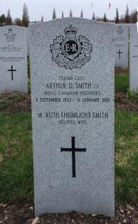 Captain Arthur Dewolf Smith, CD (Ret'd) Headstone at Beechwood Cemewtery, Ottawa, ON