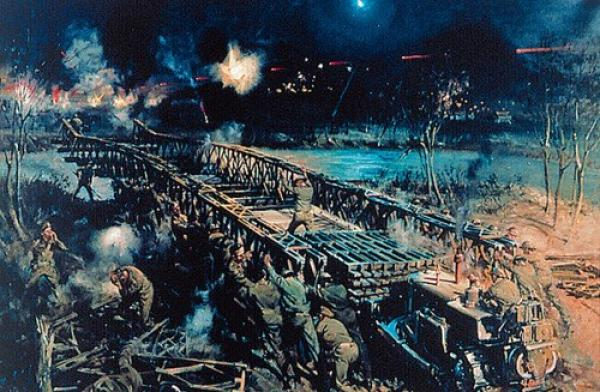 Royal Engineers Crossing the Rapido 12/13 May 1944 - Terrence Cuneo