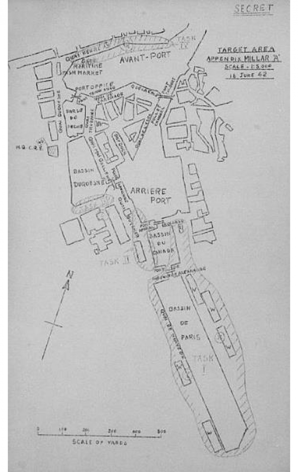 Sketch map carried by Lt Millar pointing out his objective